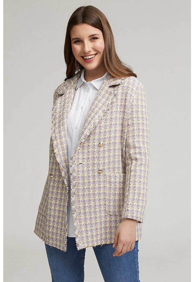 Sacou cu doua randuri de nasturi si model in carouri imagine fashiondays.ro Fiorella Rubino