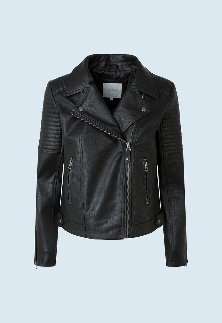 Jacheta de piele ecologica cu inchidere asimetrica de la Pepe Jeans London