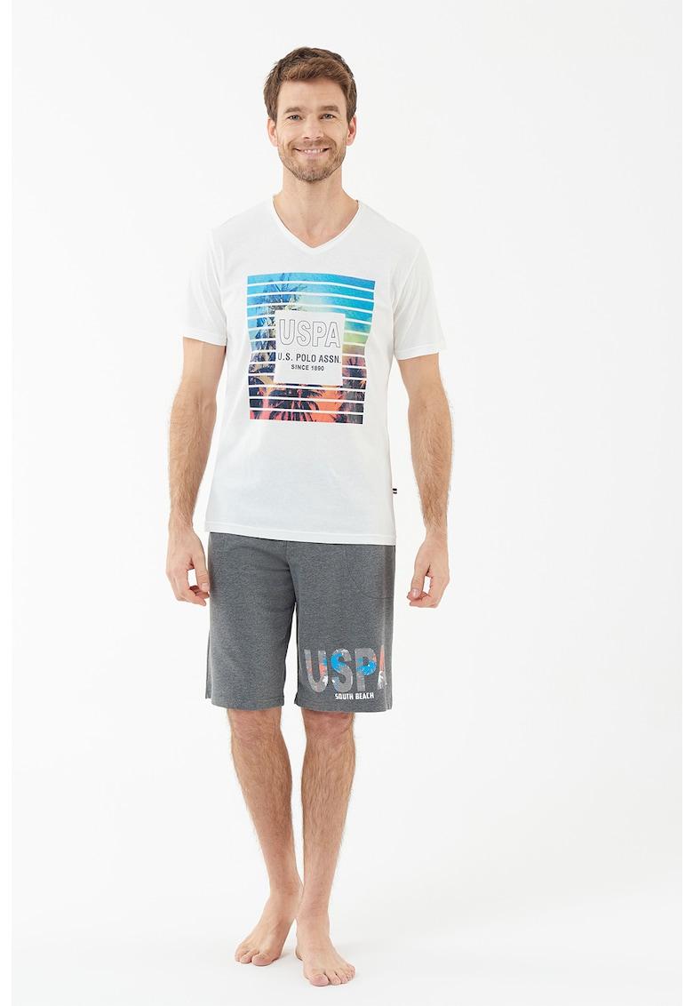 Pijama scurta cu imprimeu logo