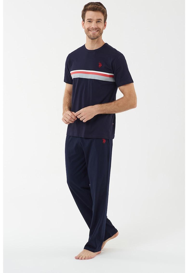 Pijama de bumbac cu imprimeu logo