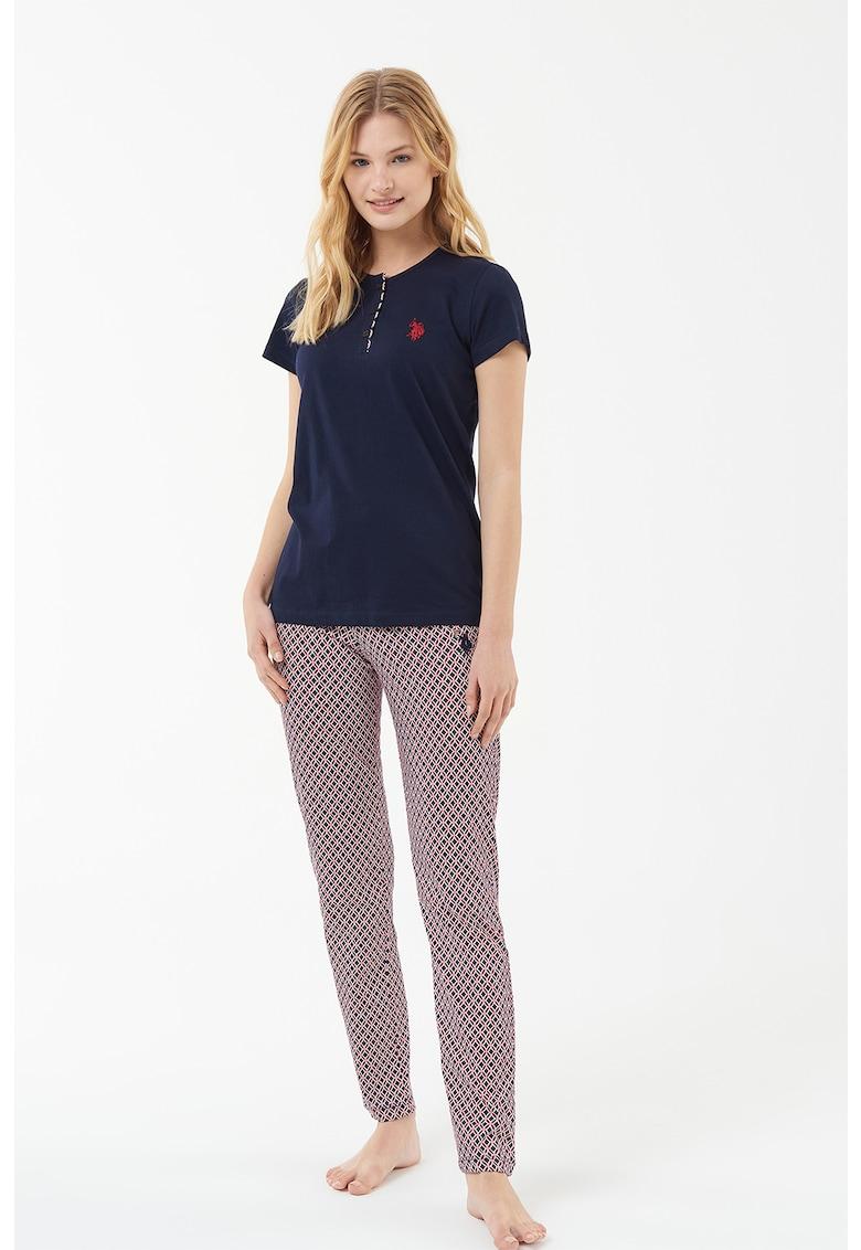 US Polo Assn Pijama cu imprimeu geometric