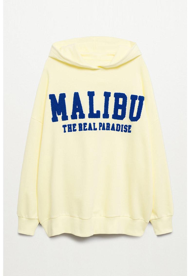 Hanorac supradimensionat cu aplicatie texturata Malibu imagine fashiondays.ro Mango
