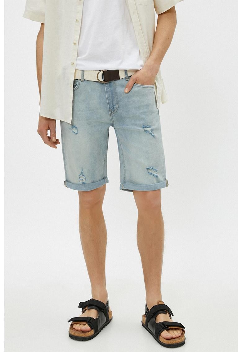Bermude de denim cu aspect deteriorat imagine fashiondays.ro KOTON