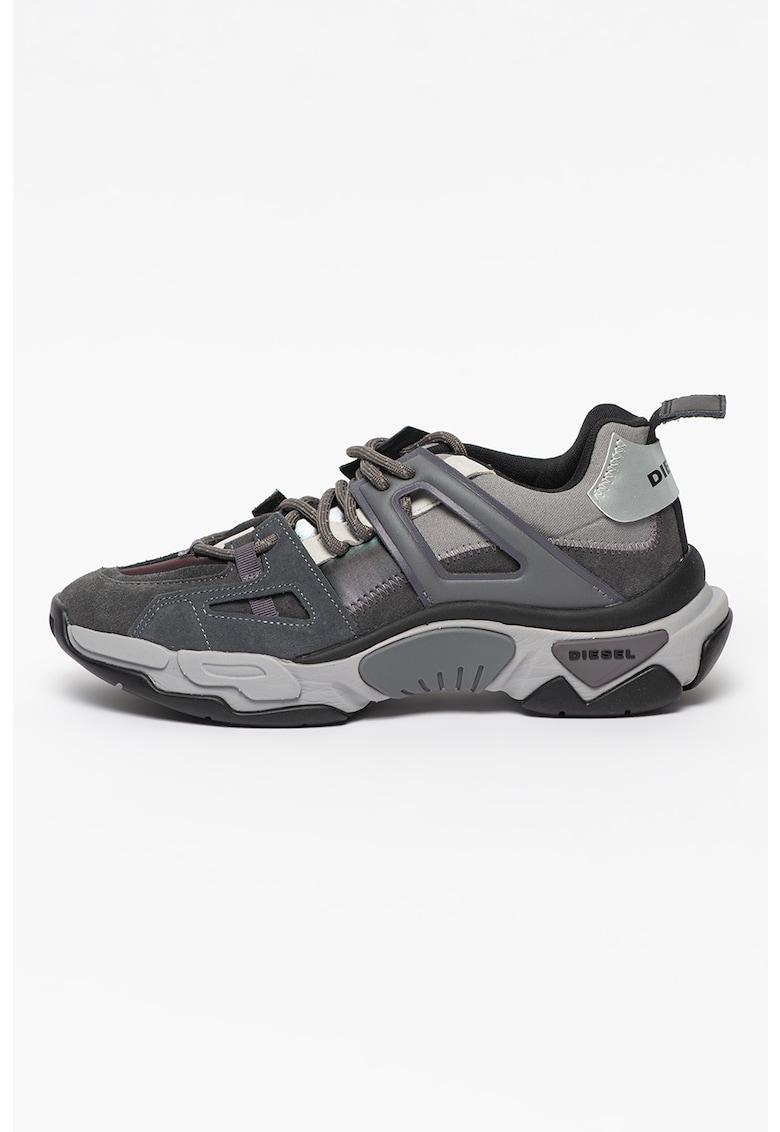 Pantofi sport din piele intoarsa cu insertii din piele ecologica si material textil S-Kipper