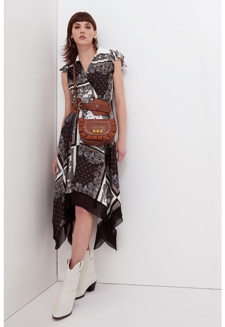 Rochie midi asimetrica cu cordon