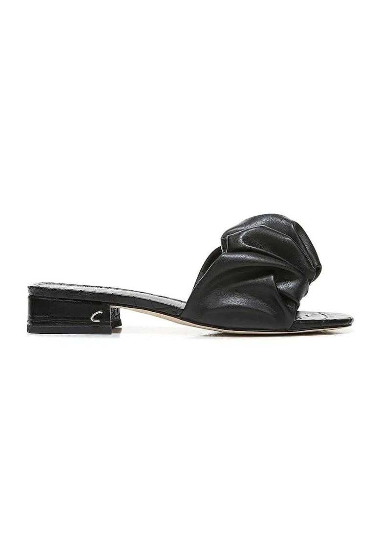 Papuci din piele ecologica cu toc si aspect plisat Janis