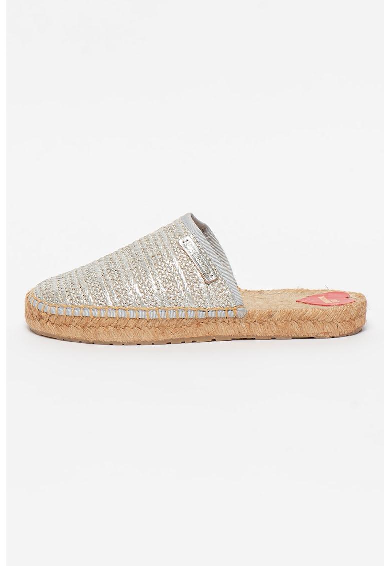Papuci tip espadrile cu aspect metalizat