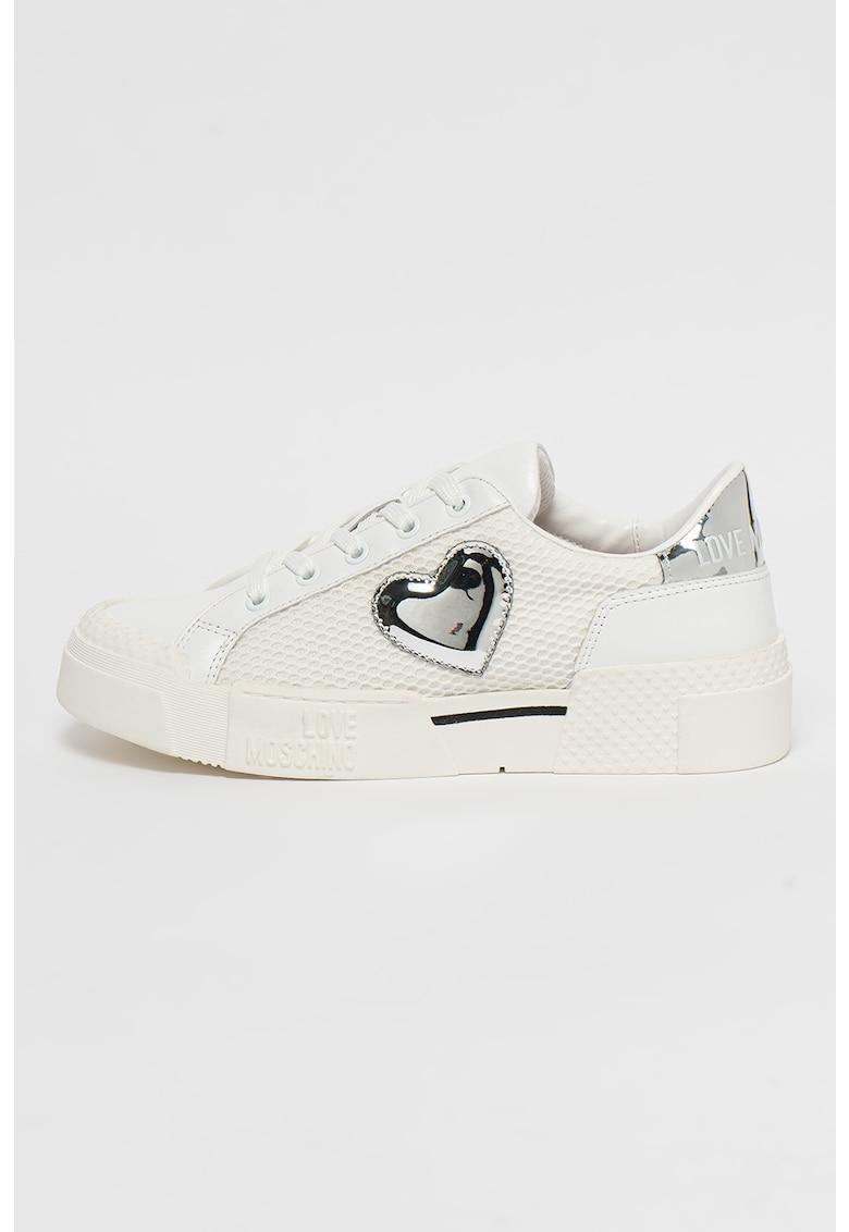 Pantofi sport cu insertii de piele si plasa