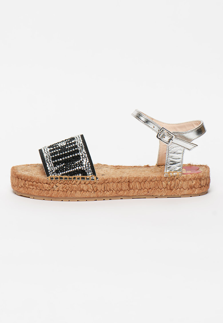 Sandale cu aplicatii cu strasuri imagine fashiondays.ro Love Moschino