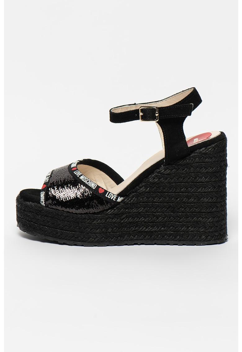 Sandale tip espadrile din piele cu talpa wedge si aplicatii cu paiete