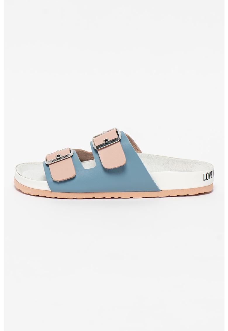 Sandale din piele cu model colorblock