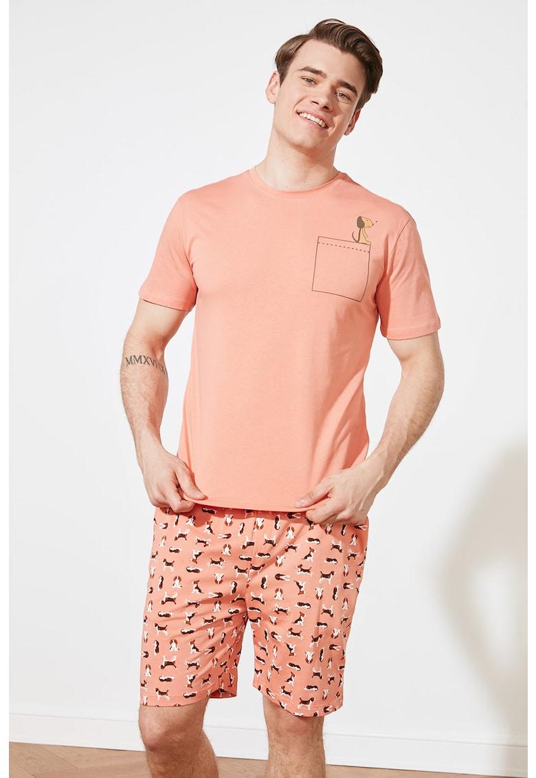 Pijama cu imprimeu si pantaloni scurti