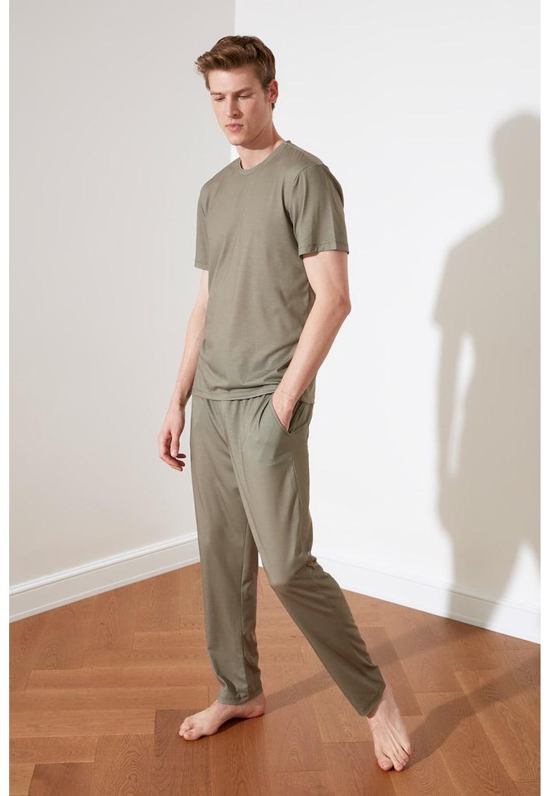 Pijama de bumbac cu model uni
