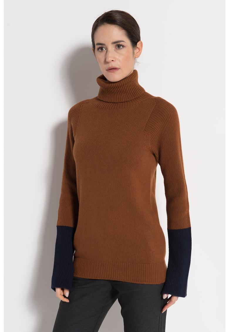 Pulover din amestec de lana si casmir - cu guler inalt
