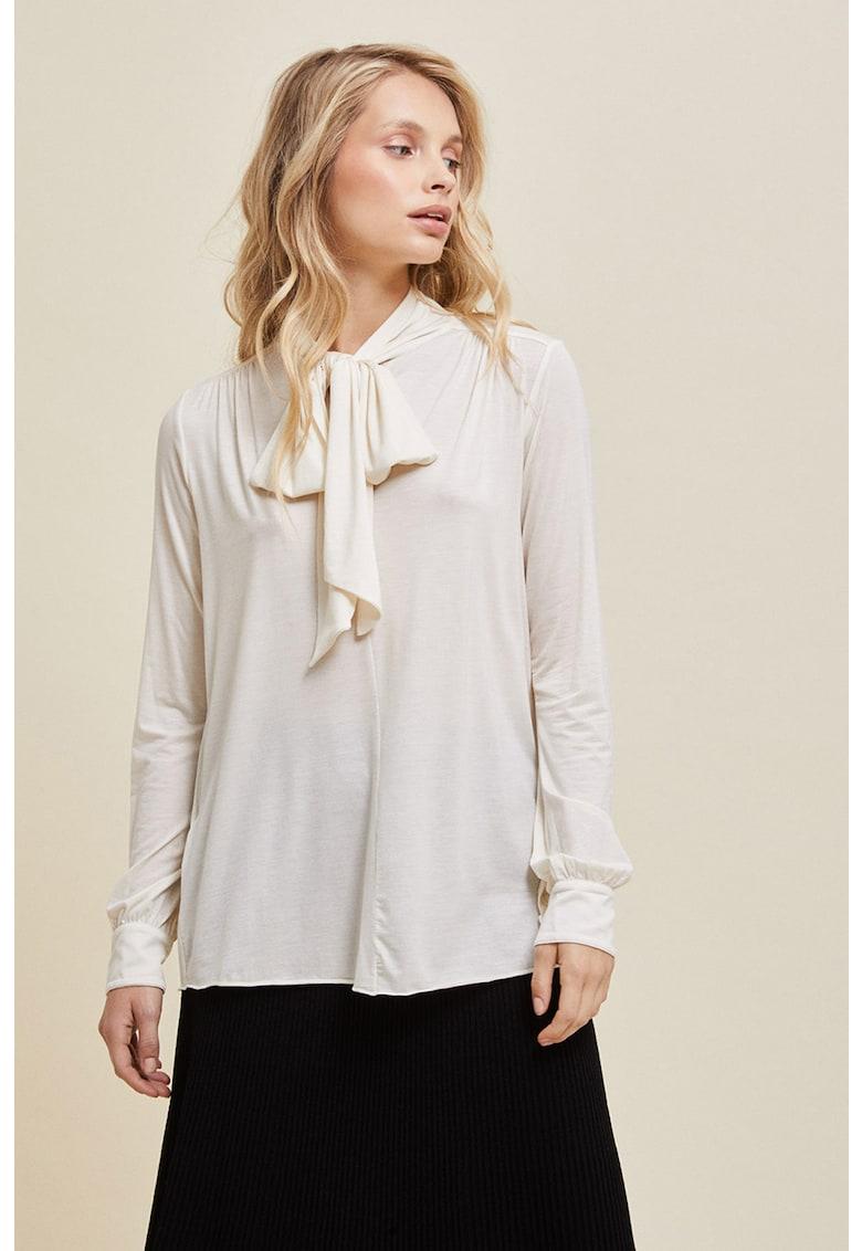 Bluza din amestec de lyocell cu funda din panglici imagine fashiondays.ro Stefanel