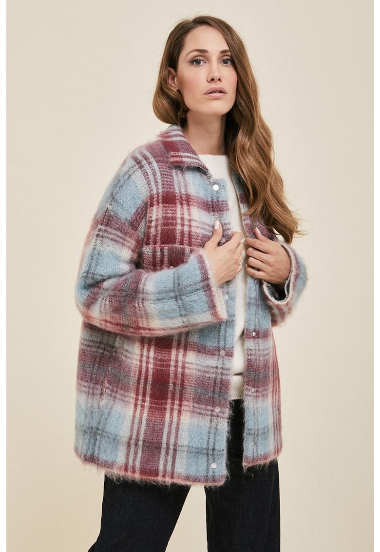 Jacheta in carouri din amestec de mohair si lana imagine fashiondays.ro Stefanel