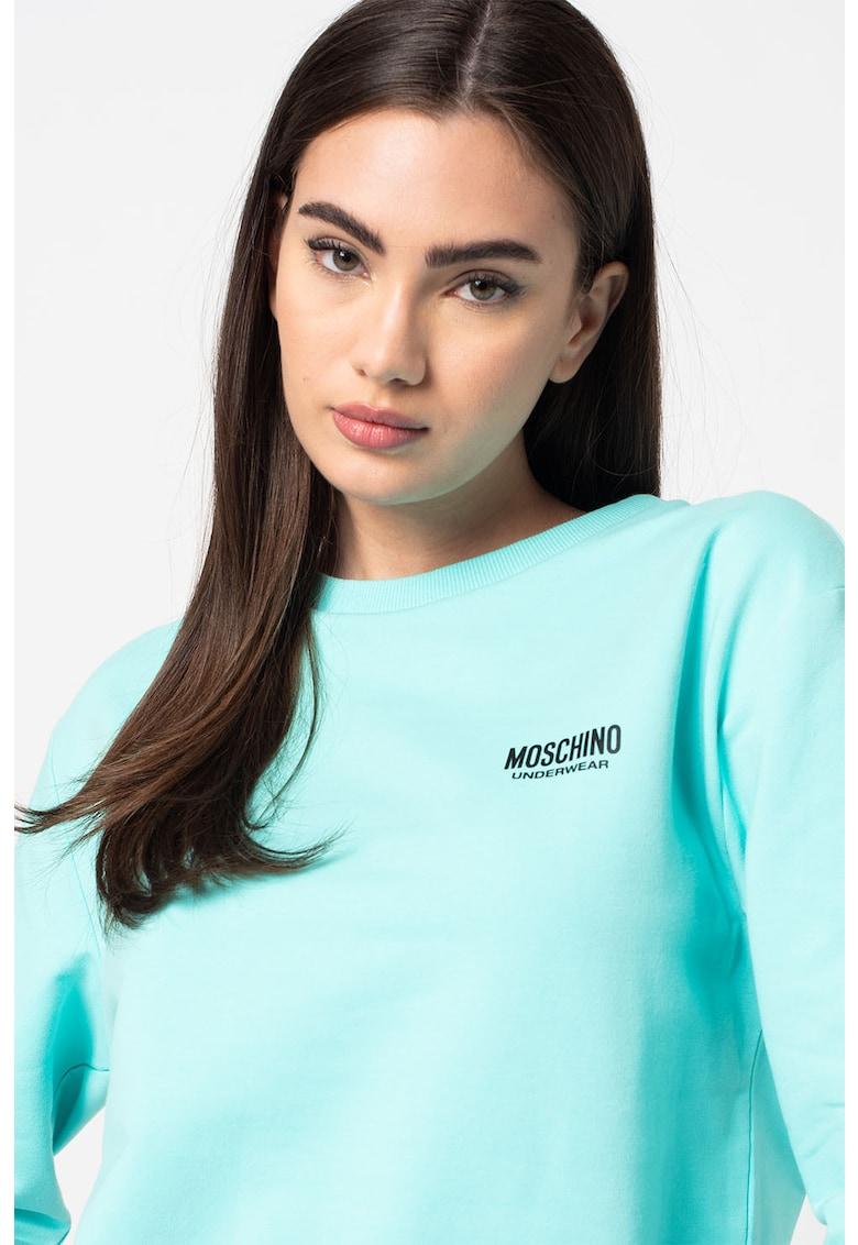 Bluza sport de casa cu decolteu la baza gatului si banda contrastanta in talie