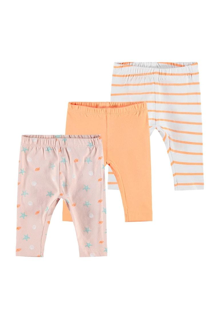 Set de pijamale din bumbac organic - 3 piese - fete - Oranj pal/gri deschis