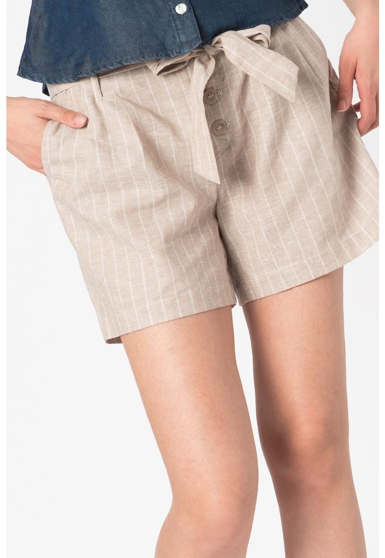 Pantaloni scurti din amestec de in cu model in dungi Viva-Elaria