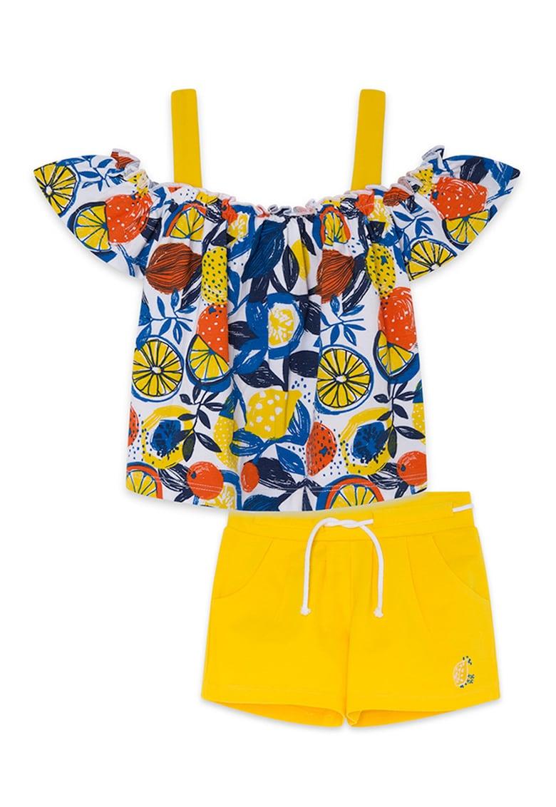 Set de bluza cu decupaj pe umar si imprimeu tropical si pantaloni scurti - 2 piese