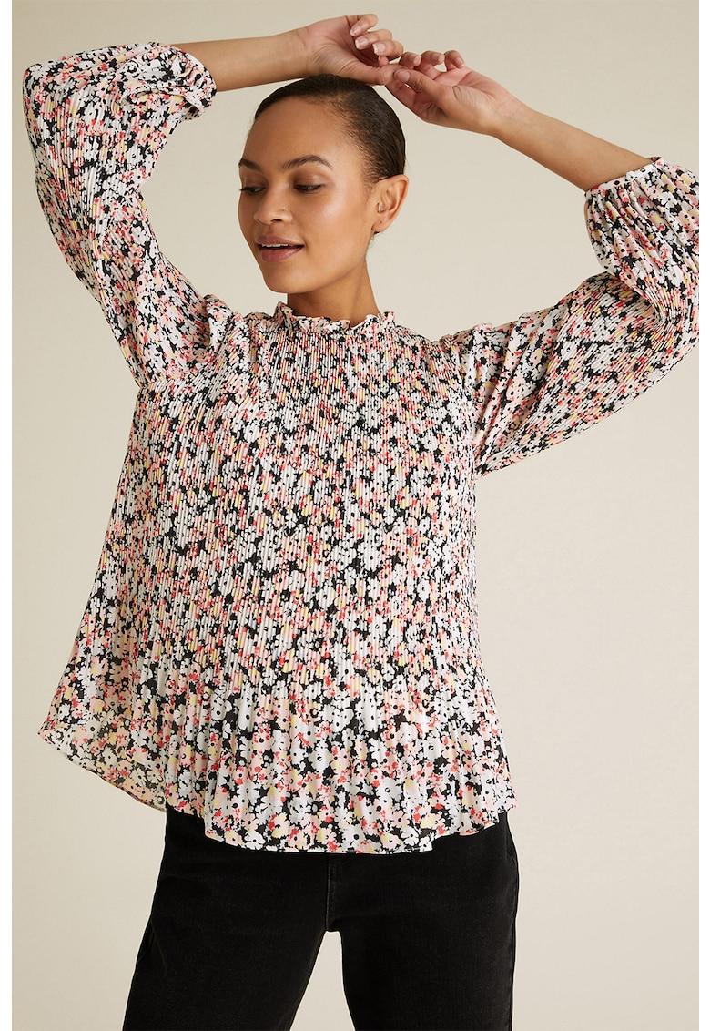Bluza cu imprimeu floral si pliuri
