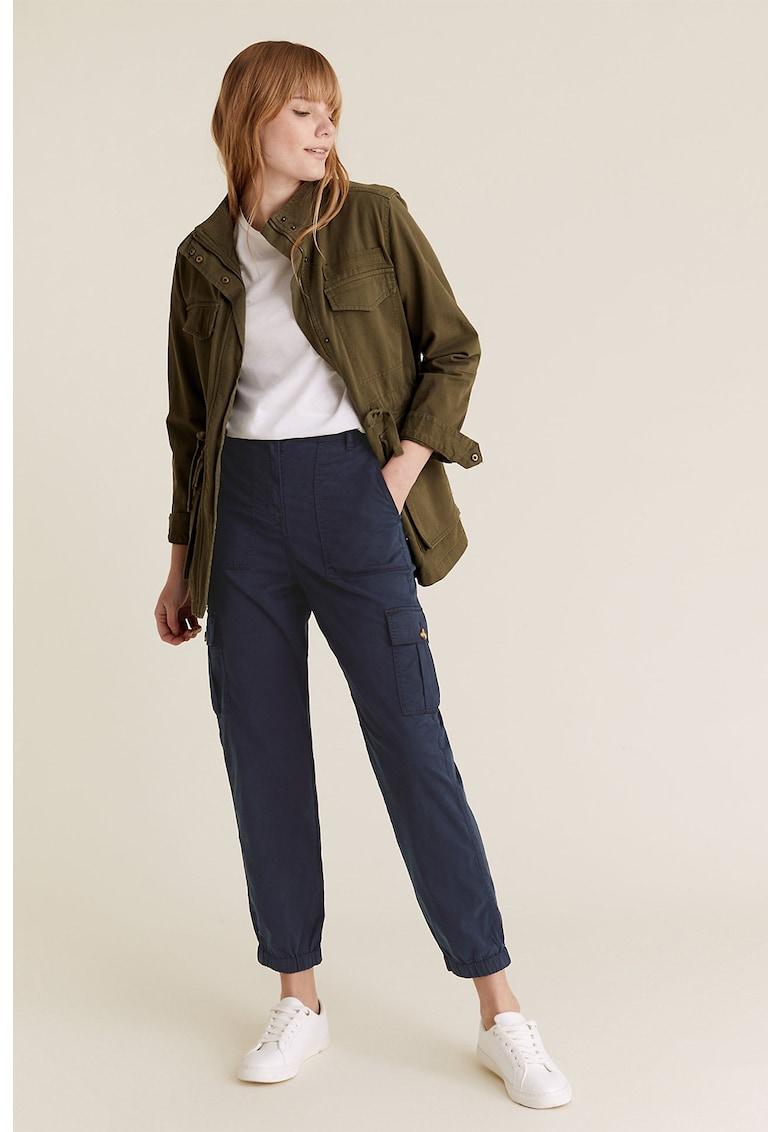 Pantaloni cargo drepti din amestec de lyocell
