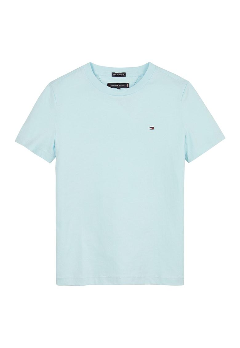 Tricou din bumbac organic cu decolteu la baza gatului imagine fashiondays.ro Tommy Hilfiger