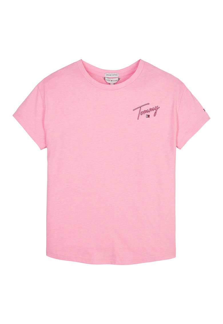 Tricou din amestec de bumbac organic cu imprimeu logo pe spate imagine fashiondays.ro Tommy Hilfiger