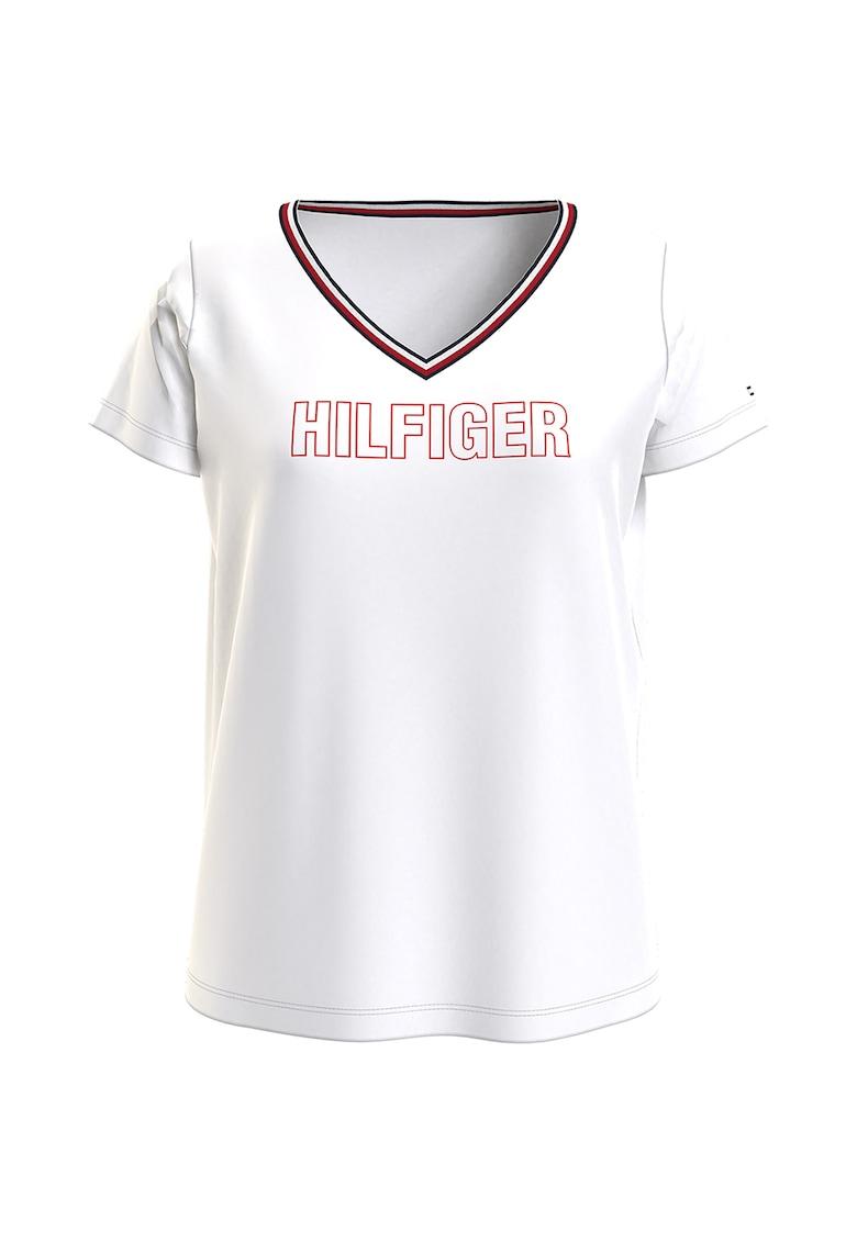 Tricou cu decolteu in V si logo imagine fashiondays.ro Tommy Hilfiger