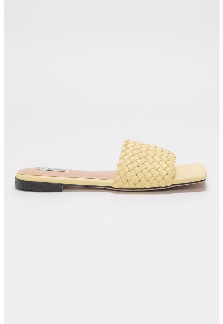 Papuci din piele ecologica cu varf patrat Barrie