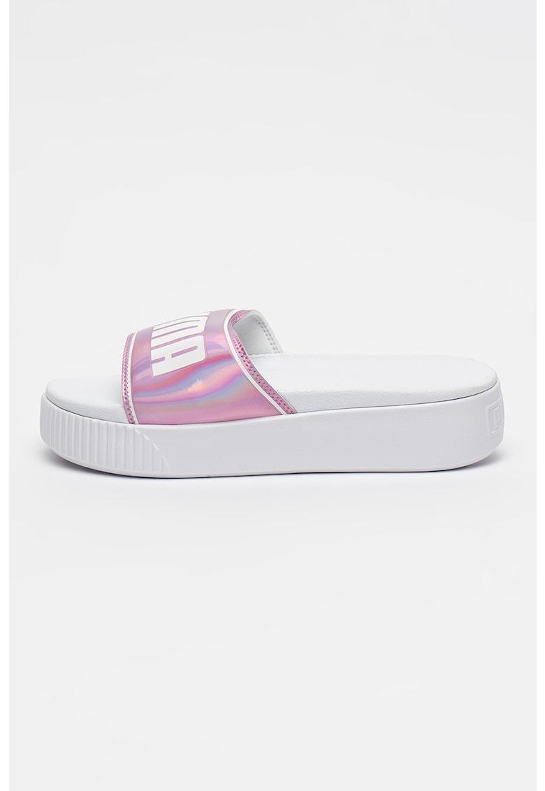 Papuci flatform cu imprimeu logo