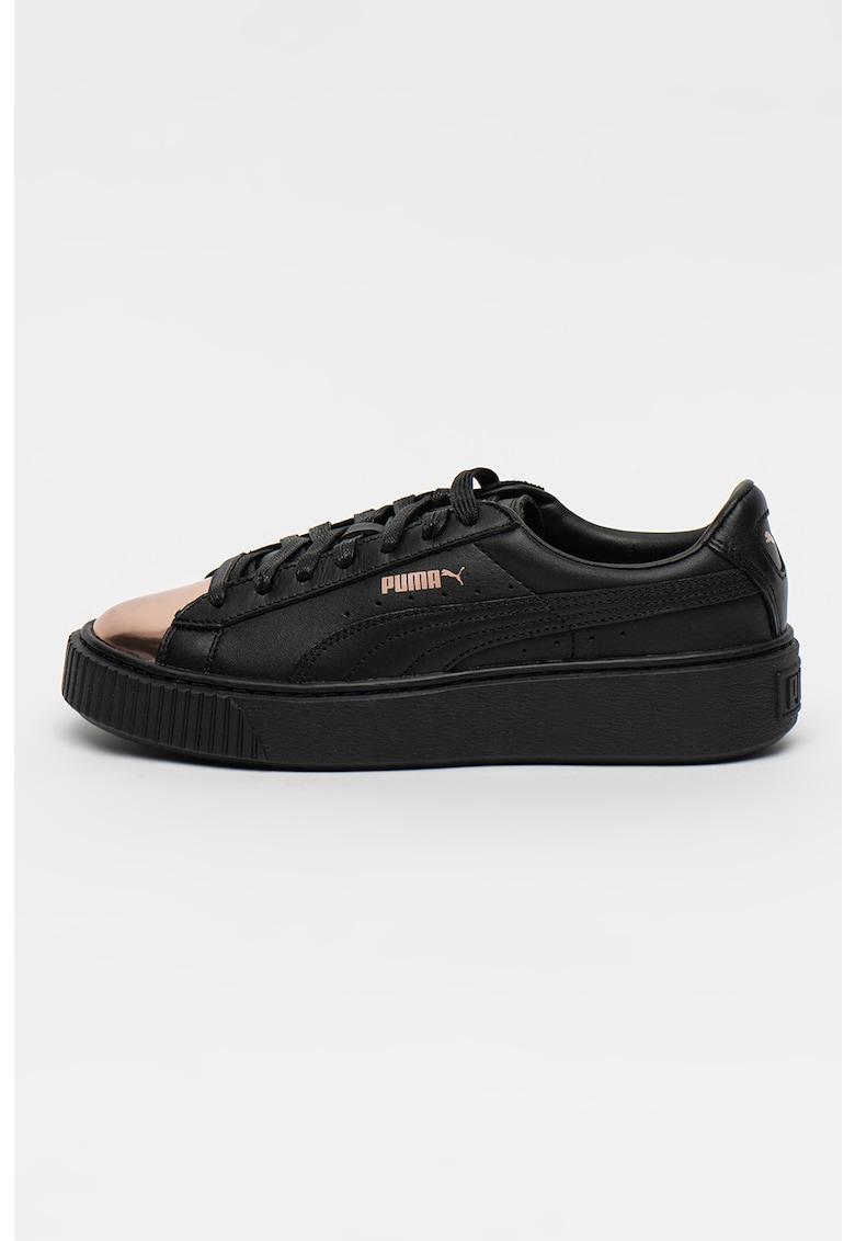 Pantofi sport de piele cu platforma si varf metalic - pentru baschet