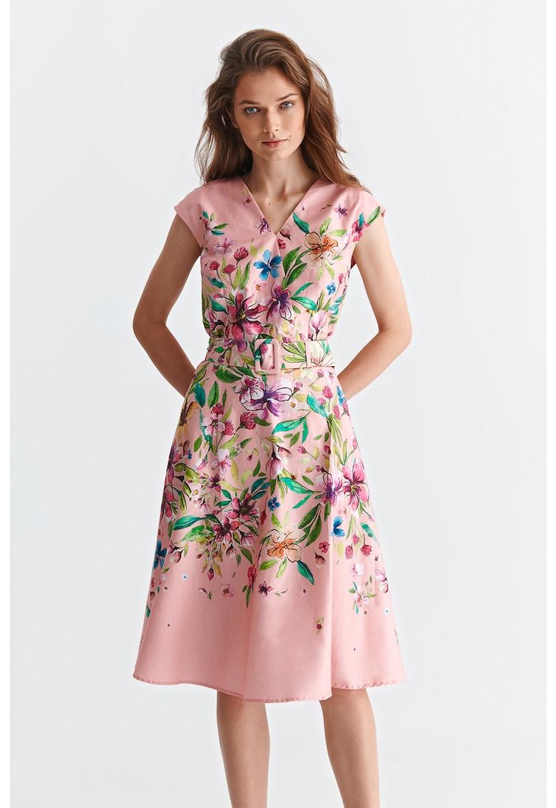 Rochie evazata cu model floral Fara