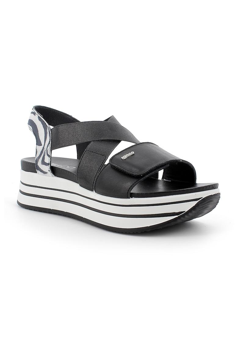 Sandale flatform de piele cu bareta cu animal print