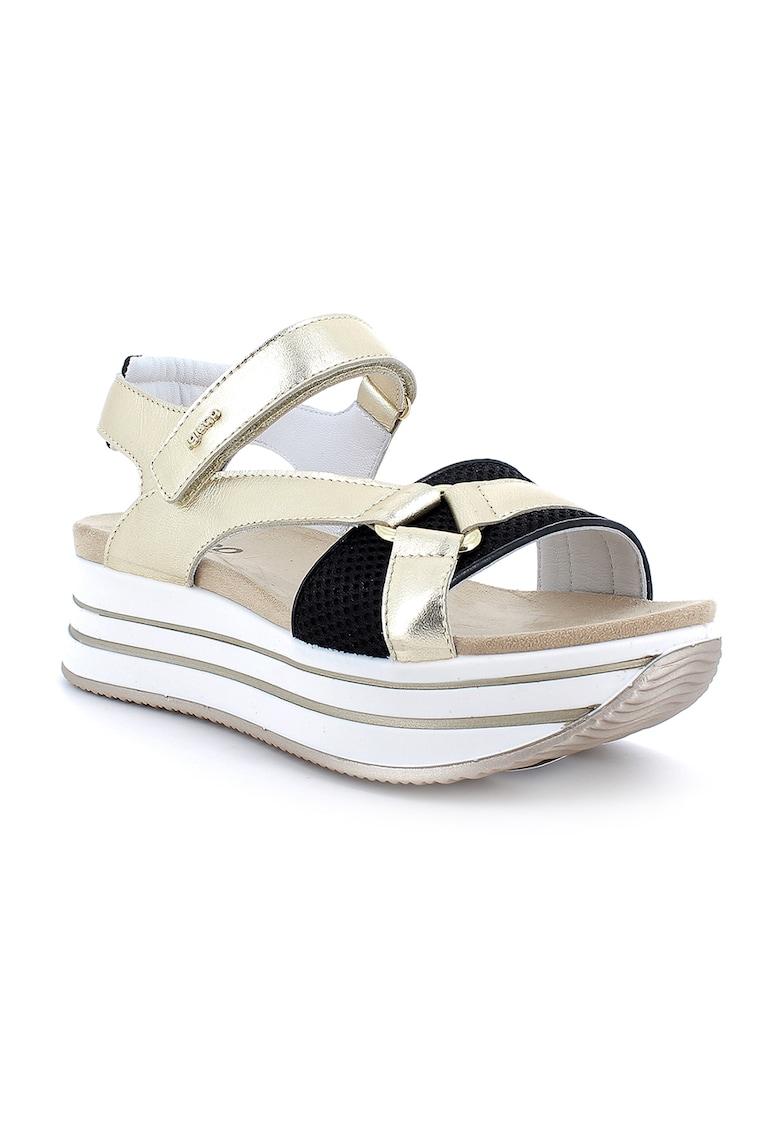 Sandale flatform de piele cu aspect metalizat