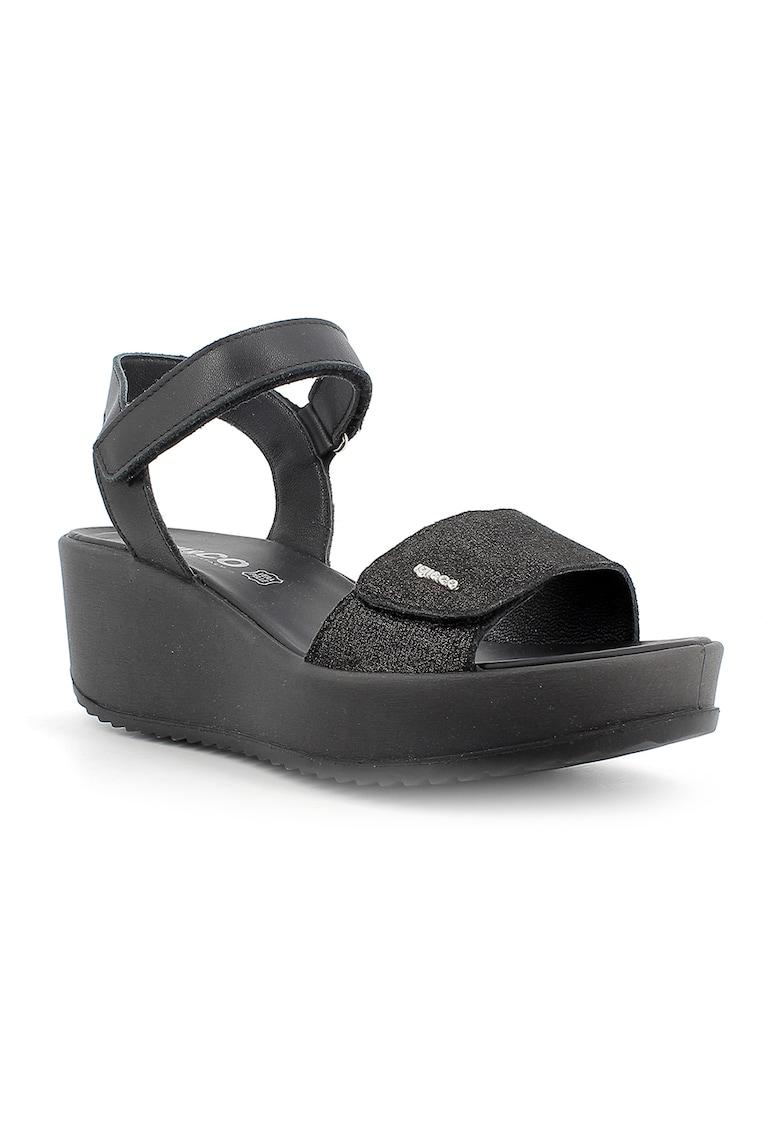 Sandale wedge de piele cu velcro