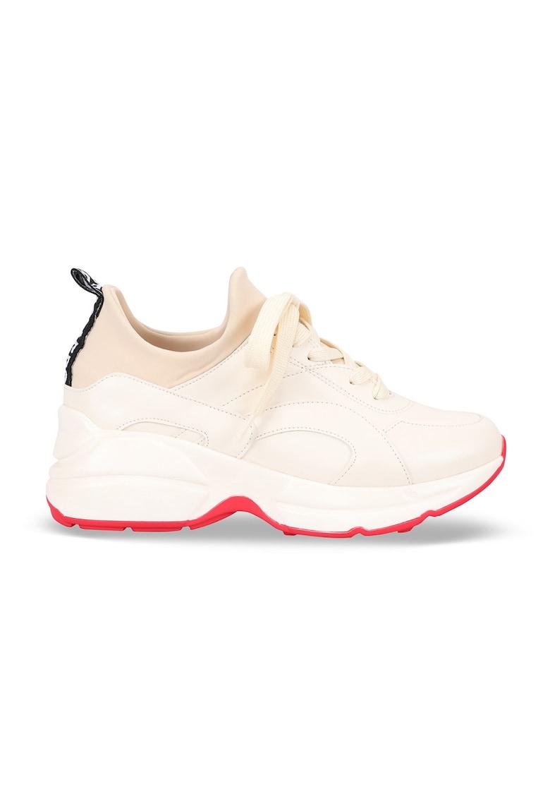 Pantofi sport wedge de piele ecologica cu talpa contrastanta