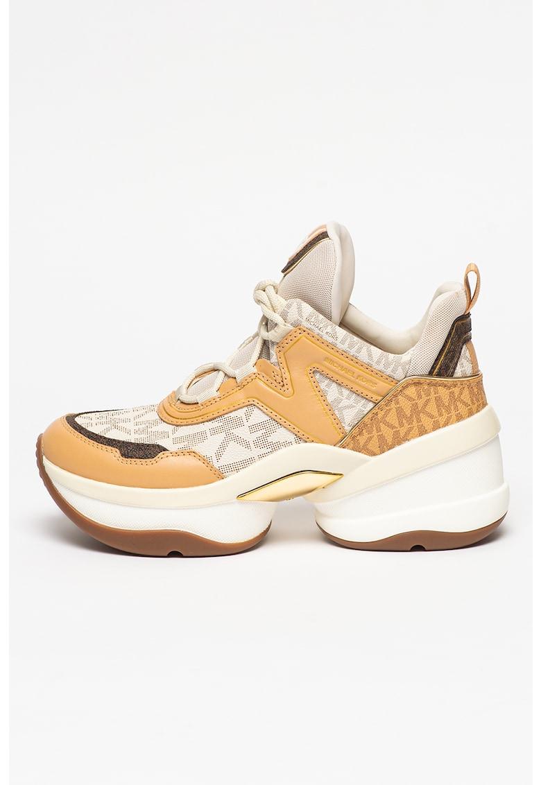 Pantofi sport demi-wedge cu garnituri de piele ecologica Olympia