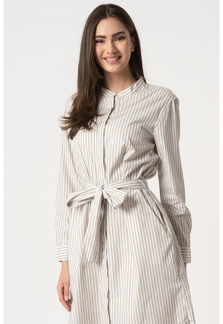 Rochie camasa in dungi cu cordon in talie