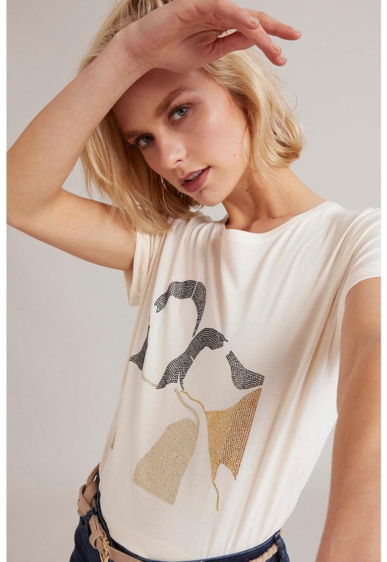 Tricou din jerseu cu aplicatii cu strasuri