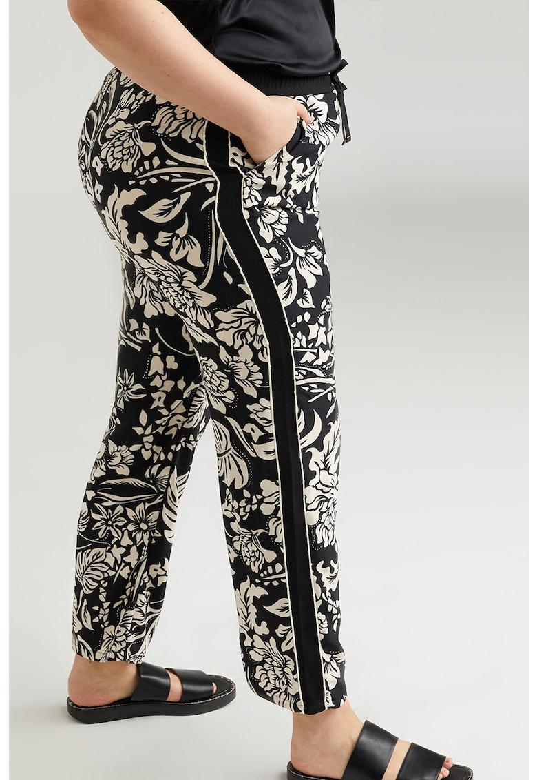 Pantaloni cu imprimeu floral si snur de ajustare