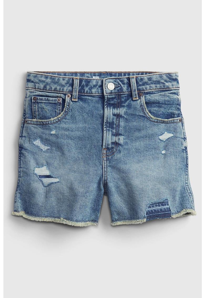 Pantaloni scurti de denim elastic cu talie inalta Sky
