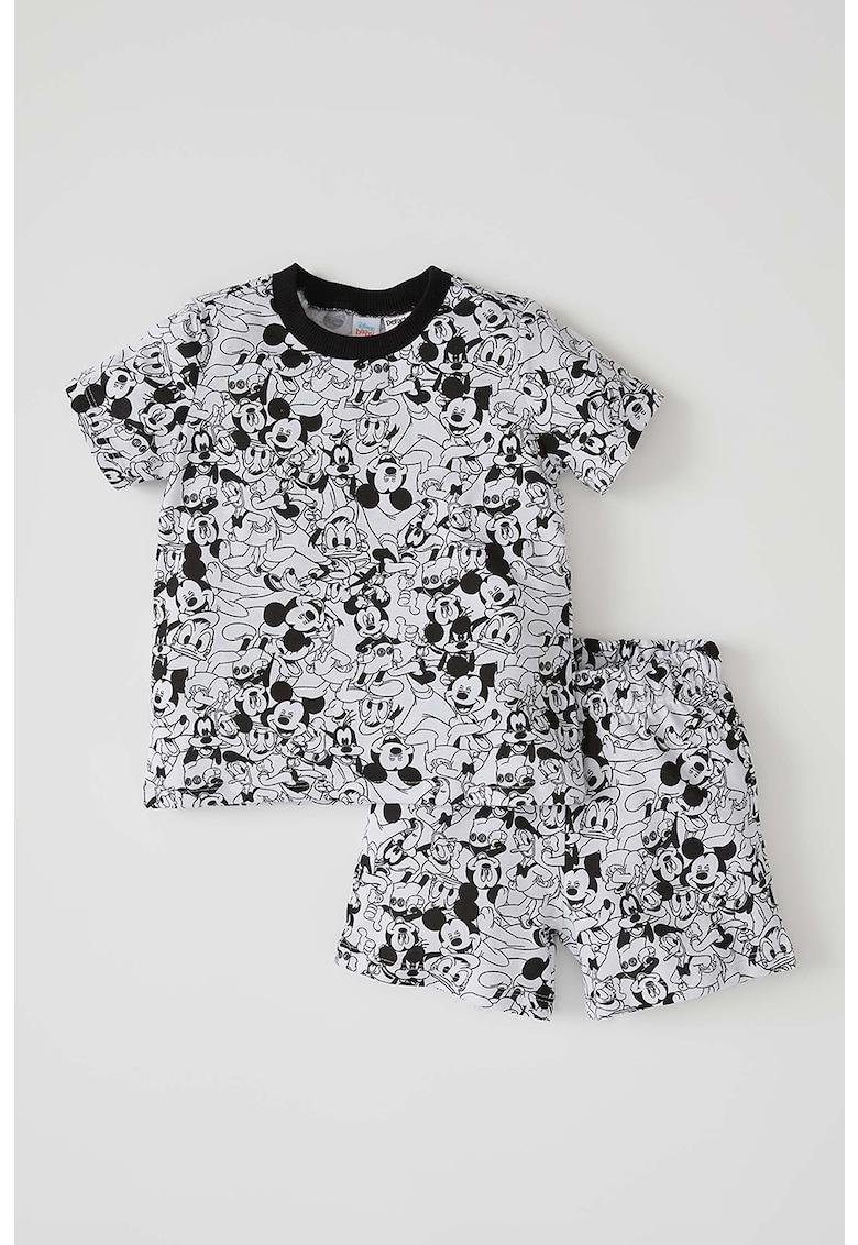 Pijama cu maneci scurte si imprimeu Mickey Mouse