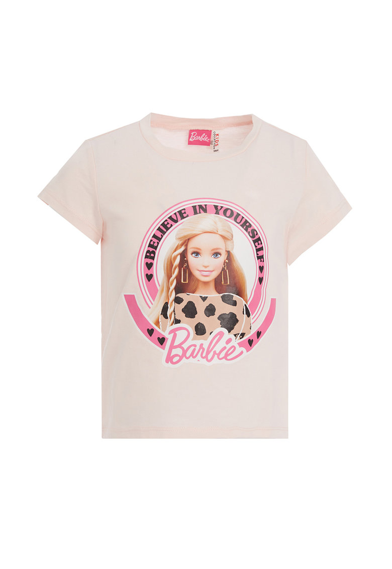 Tricou cu decolteu la baza gatului si imprimeu Barbie de la DeFacto