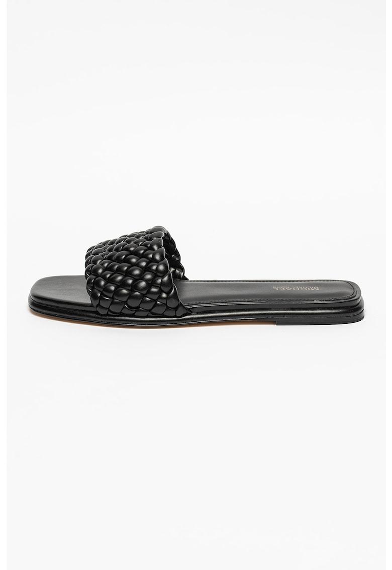 Papuci cu toc - de piele ecologica Amelia