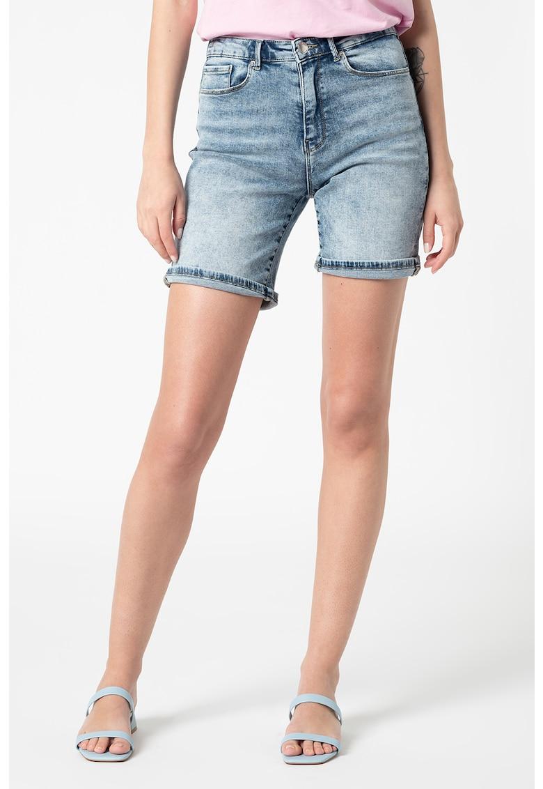 Pantaloni scurti cu talie inalta si aspect decolorat Paola