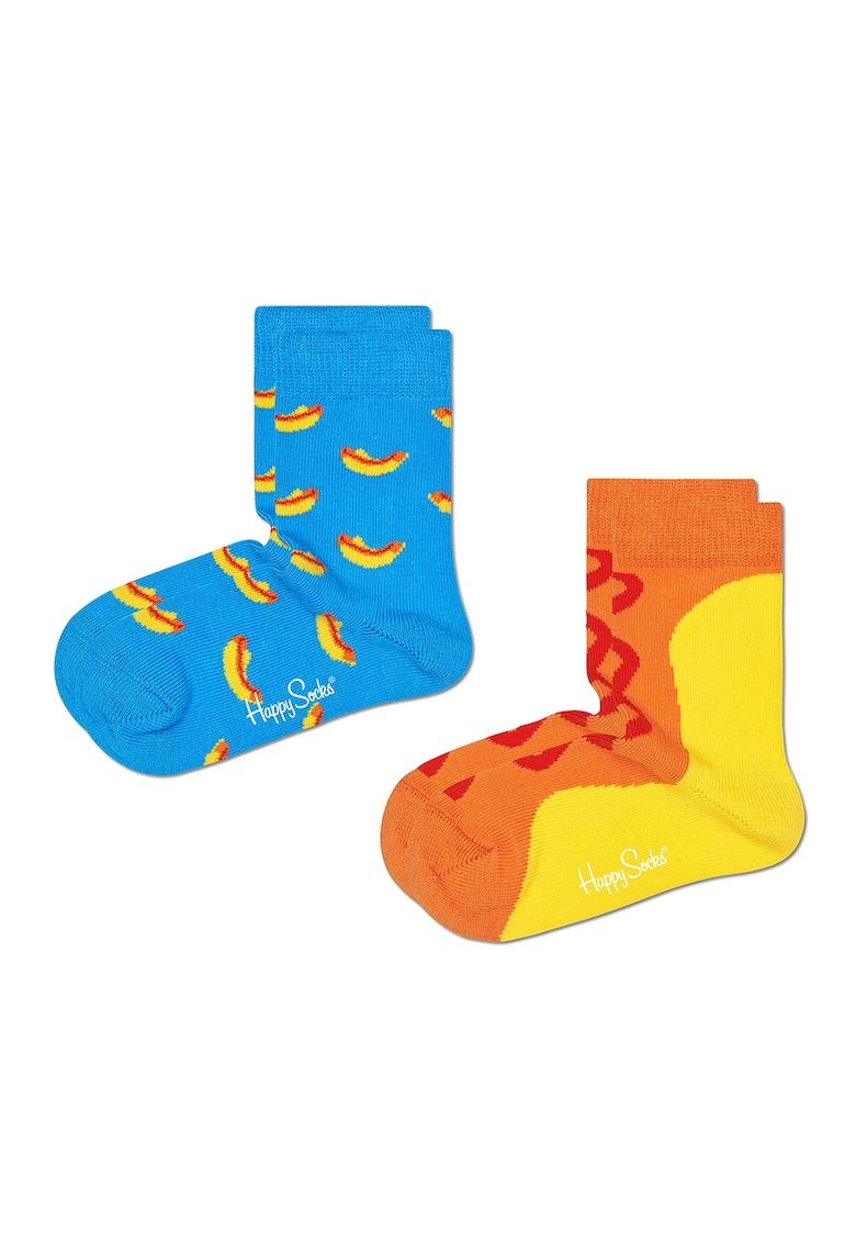 Happy Socks Set 2 perechi de sosete – unisex – cu imprimeu hot dog – Albastru/Galben/Oranj