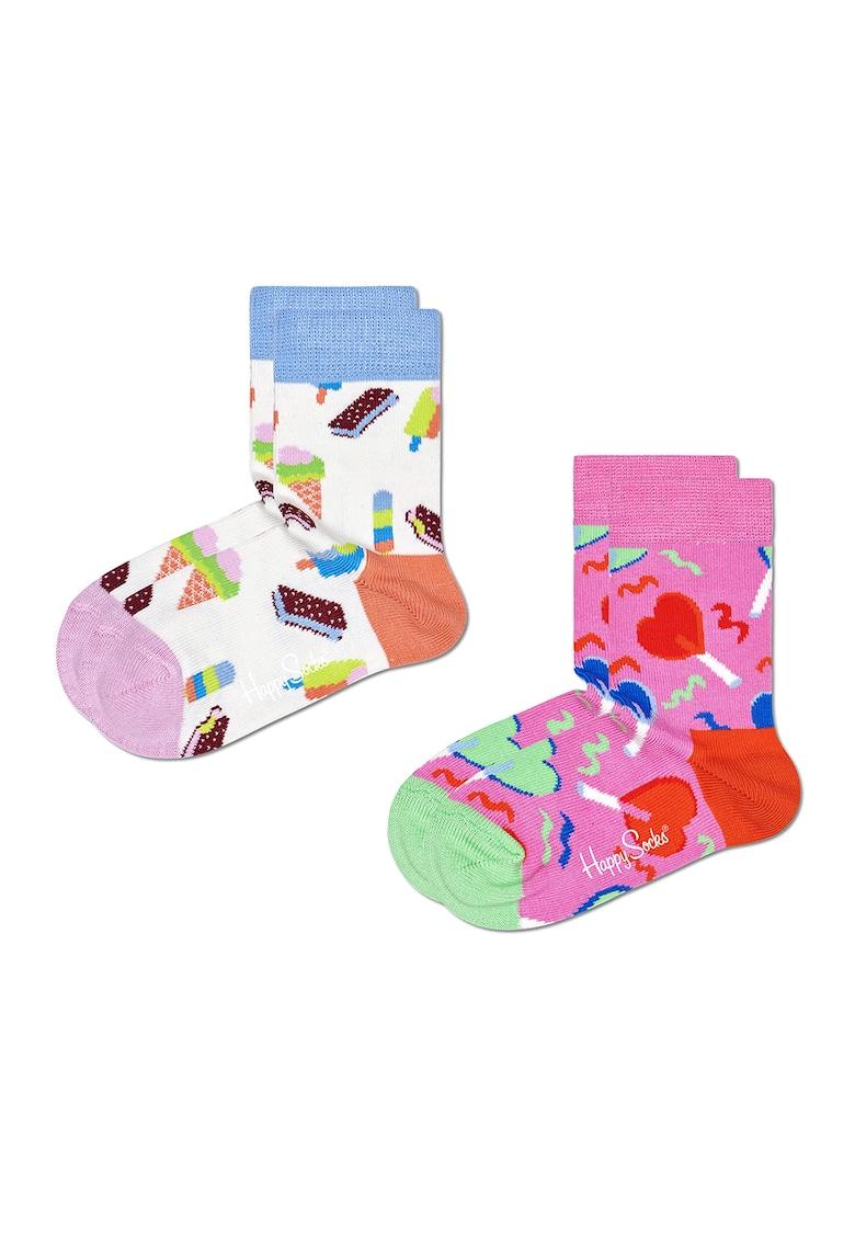 Happy Socks Set 2 perechi de sosete lungi – unisex – cu imprimeu dulciuri – Multicolor