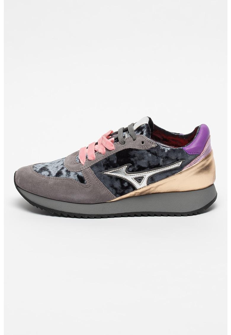 Pantofi sport cu insertii de piele intoarsa si piele Etamin