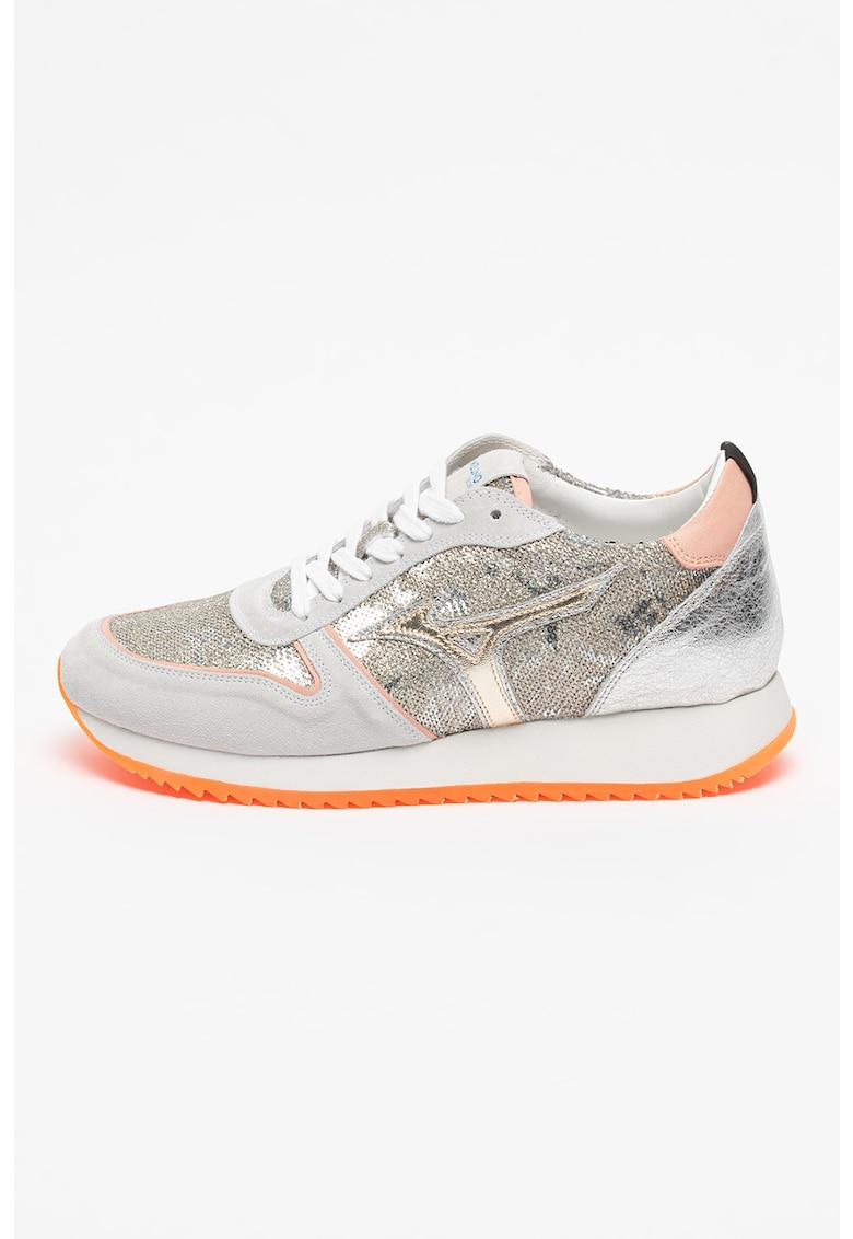 Pantofi sport de piele intoarsa si material textil cu aplicatii cu paiete Etamin